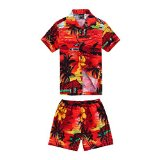 Boy Hawaiian Shirt and Shorts 2 Piece Cabana Set in Red Sunset Scenic View 8 Year Old