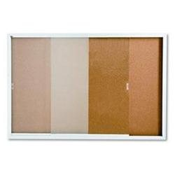 Quartet D2405 Quartet Enclosed Indoor Cork Bulletin Board With Sliding Glass Doors QRTD2405 QRT D2405