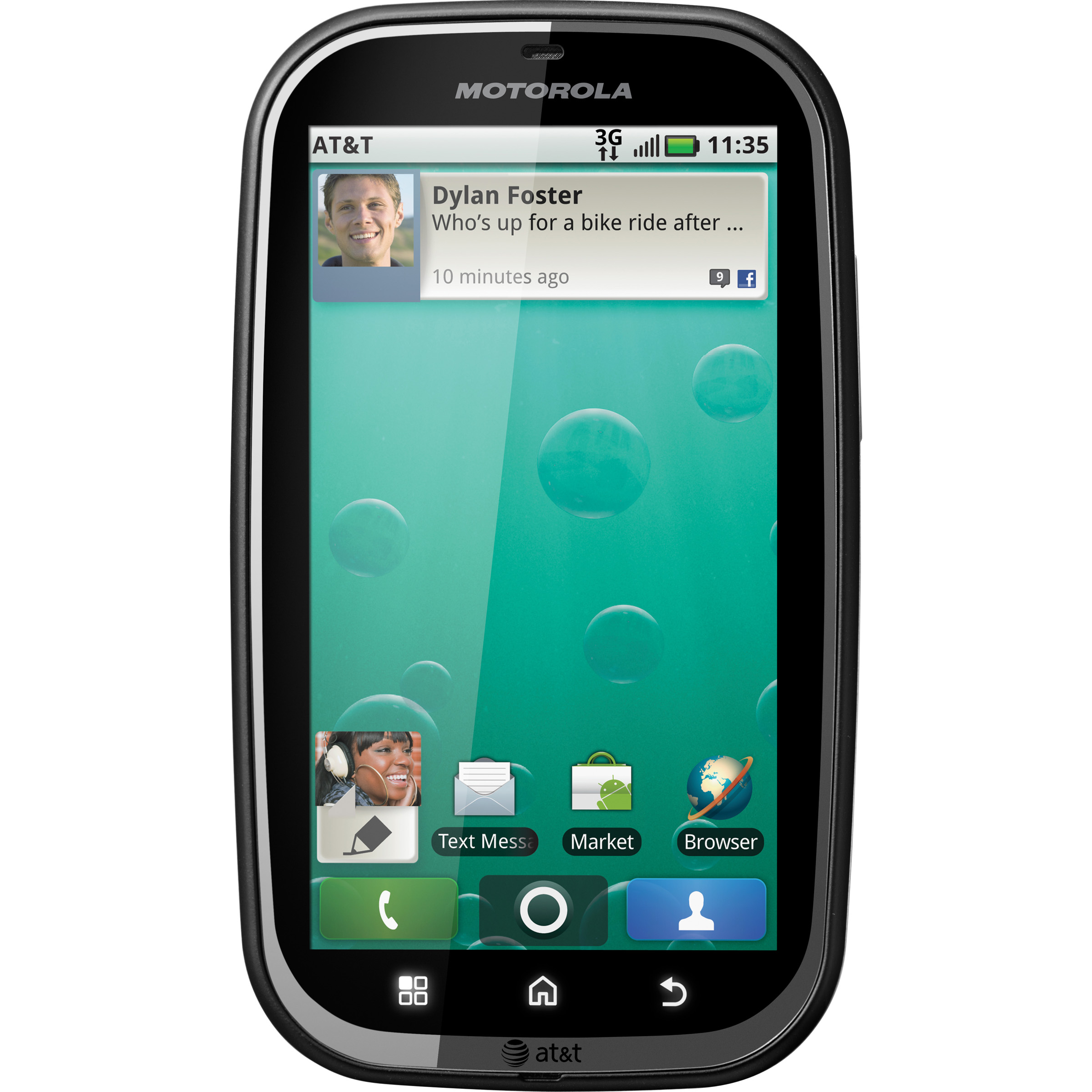 Motorola BRAVO Smartphone - Wireless LAN - 3G - Bar - Black - SIM-free - Android 2.1 Eclair - Texas Instruments800 MHz - 512 MB RAM - 2 GB microSD - 3.7