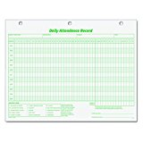 TOPS 3284 Daily Attendance Card, 8 1/2 x 11 (Pack of 50 Forms)