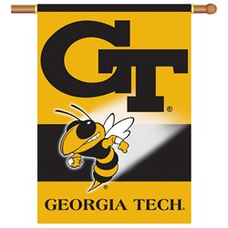 BSI Products Outdoor Decorative Georgia Tech Yellow Jackets 2-Sided 28 X 40 Banner with Pole Sleeve