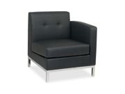 Ave Six Wall Street Right Arm Chair - Faux Leather Black Seat - Back - Frame - 27.0