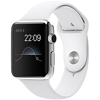 Stay connected in style with the APPLE MJ3V2LL A 42mm Apple Watch, which comes with a stainless steel chassis and a white Sport band