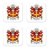 Reynolds Or Reignolds Of Denbighshire Family Crest Square Coasters Coat of Arms Coasters - Set of 4