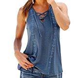 Women Vest Tops,Napoo V-Neck Sleeveless Modal Shirt Tank Tops Blouse T-shirt with Bandage (2XL, Blue)