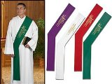 Alpha/Omega Wheat Deacon Stole Red