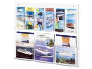 "Safco Clear2c Magazine/Pamphlet Display 5666CL Color: Clear Finish/Surface: Material:  Polycarbonate  Polyethylene Sizes/Dimensions: Compartment Height:7""  Compartment Width:2""  Compartment Depth:9.12""    Height:23.5""  Width:28""  Depth:3"" Quantity: 1 each Specifications: Total Number of Compartments:9  Placement:Wall Mountable  Application/ Usage:  Literature Display  Magazine"