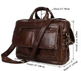 YAAGLE Fashionable Mens Genuine Real Buffalo Leather Office Document File Organizer Portable Business Briefcase with Shoulder Strap Crossbody Meeting Conference Top-handle Handbag 17-inch Laptop Case Coffee