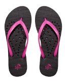 Showaflops Girl's Antimicrobial Shower & Water Sandals - Black/Pink Elongated Heart 13/1