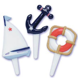 Nautical Sailboat Cupcake Picks - Set of 12