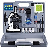 AMSCOPE-KIDS M30-ABS-KT2-W Microscope Kit with Metal Arm and Base, 6 Magnifications from 20x to 1200x, Includes 52-Piece Accessory Set and Case, Awarded The 2016 Top Pick of Microscopes For Beginners