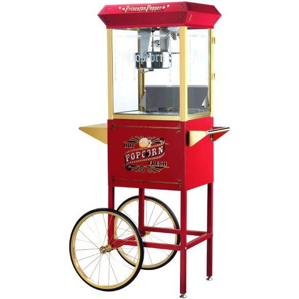 Great Northern 6030 Red Princeton Eight Ounce Antique Popcorn Machine and Cart