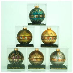 Pack of 6 Assorted Baroque Decorative Glass Christmas Ball Ornaments 3.25