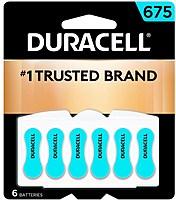 Duracell 041333004334 675 Zinc Carbon Hearing Aid Batteries - 6 Count - Blue