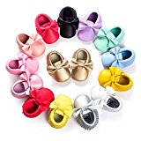 C&H Baby boy girl soft cute tassel bow tassels baby cot shoes baby shoes (11cm(0-6months), 5107 Gold)