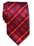 Retreez Tartan Check Styles Woven Microfiber Men's Tie - Burgundy