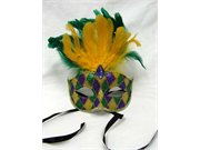 Mardi Gras Mask with Sparkling Carnival Designs and Feathers