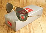 Ray-Ban 0RB3025 Men's Aviator Classic Sunglasses, Gold/Green - 58 mm