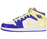 Air Jordan 1 Mid (Kids) - White / Violet Force-Electric Yellow, 6.5 M US