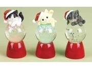 Club Pack of 12 LED Lighted Santa Kittens Glitterdome Christmas Snowglobes 3.75