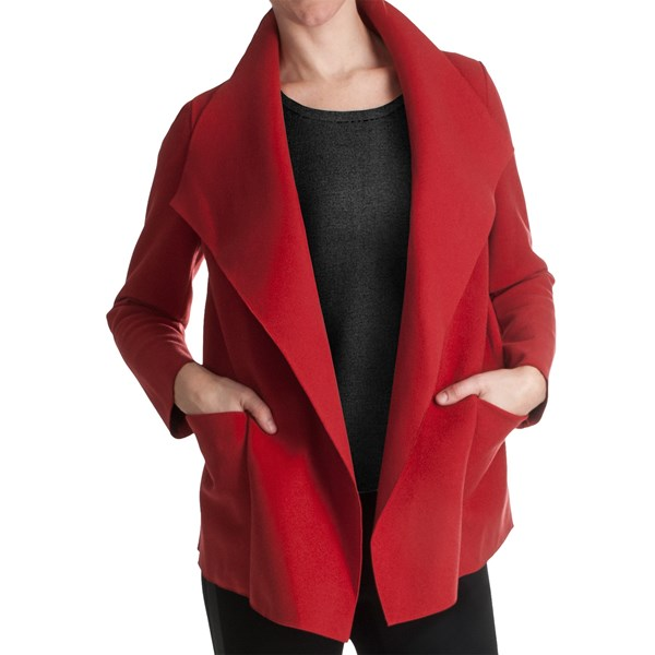 Paperwhite Waterfall Drape Front Jacket (For Women)