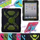 NEW Waterproof Shockproof Dirt Snow Sand Proof Survivor Extreme Army Military Heavy Duty Cover Case Kickstand for Apple iPad Mini Kids Children Gift @XYG (6-black/olive)