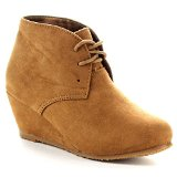 BELLA MARIE SALLY-5K Girl's Comfy Lace Up Slip On Wedge Ankle Booties, Color:CAMEL, Size:3 M US Little Kid