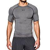 Under Armour Men's HeatGear Armour Short Sleeve Compression Shirt, Carbon Heather /Black, Large