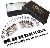 BodFx 72 Piece Complete Ear Stretching Kit. 14g-00g. Tapers, Tunnels & Plugs