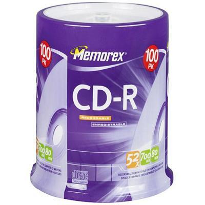 Memorex 04581 Cd-r 52x 700mb/ 80min  Branded Disc - 100 Pack  Spindle