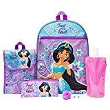 Disney's Aladdin Backpack Combo Set - Disney Aladdin Girls' 6 Piece Backpack Set - Jasmine Backpack & Lunch Kit (Teal/Pink)