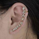 Flower Crystal Gold Plated Stud Clip earrings Long Ear Rhinestone CZ S444K06