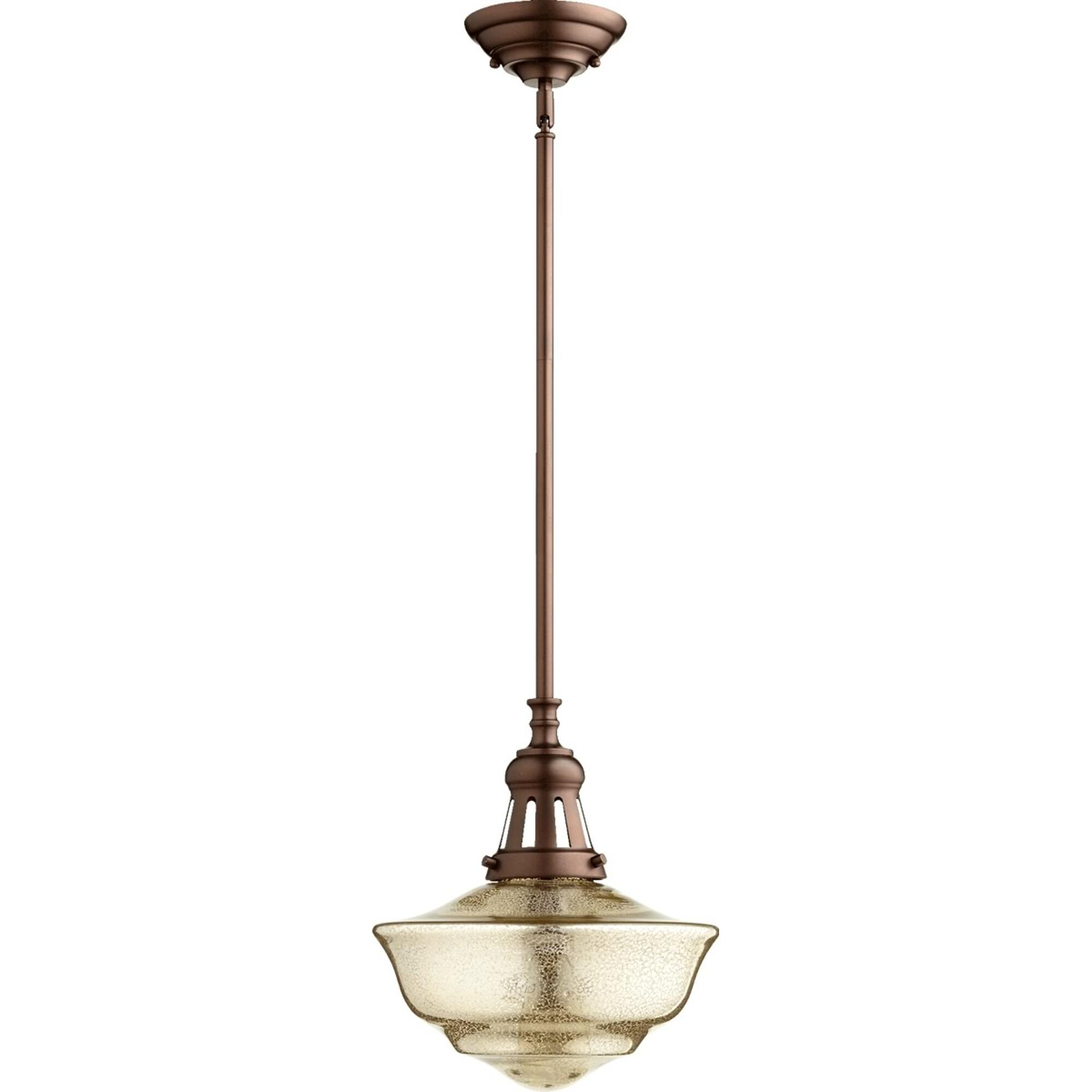 1-Light Pendant Oiled Bronze/Mercury by Quorum. Vintage Design Perfect for restation projects or adding a fresh look to a kitchen island, over a bar, or a bathroom