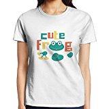 Women's Casual Classic Short Sleeve Awesome Retro Cute Novel Frog Jersey T-Shirt