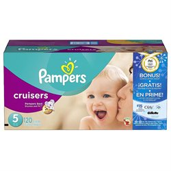 Pampers Cruisers Size 5 Diaper Super Economy Pack Plus Bonus Sample Offer - 120 Count