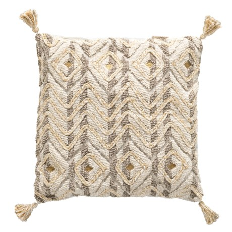 Mindo Taupe Embroidered Throw Pillow - 22x22?, Feathers