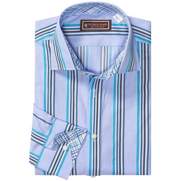 Patrick James Stripe Shirt - Mitered Cuff, Long Sleeve (For Men)