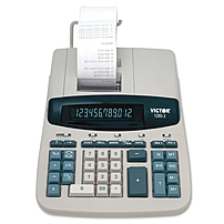 """Victor 12603 Commercial Calculator - 4.6 - Clock, Date, Independent Memory, Item Count, 4-key Memory, Extra Large Display, Sign Change - Ac Supply Powered - 8"""" X 11"""" X 2.8"""" - White, Gray - 1 Each 1260-3"""