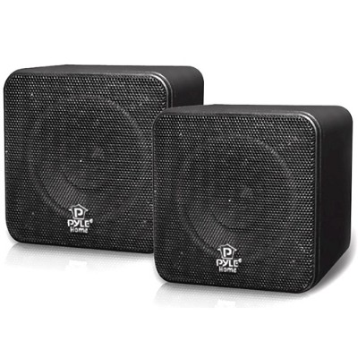 Pyle Pcb4bk 4'' 200 Watt Black Mini Cube Bookshelf Speaker In Black - Pair