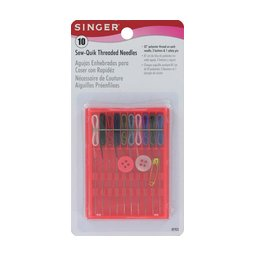 Singer 10 Count Assorted Colors Sew Quik Threaded Needles