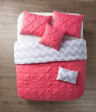 VCNY 5 Piece Jana Reversible Comforter Set, Full/Queen, Coral