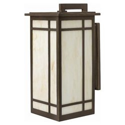 Parkside One Light Large Outdoor Wall Lantern with Honey Art Glass in Oil Rubbed Bronze