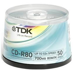 TDK 52x CD-R Media - 700MB - 120mm Standard - 50 Pack Spindle