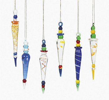12 Beautiful Multicolor GLASS ICICLE Christmas Ornaments/HOLIDAY Tree DECOR/Dozen/GIFT/DECORATIONS