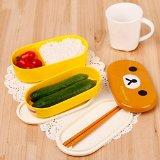 Yellow Microwave Rilakkuma Bento And Nostrils Chickens Multilayer Children Lunch Box.