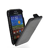 MOONCASE Hard Leather Devise Carbon Fibre Skin Style Flip Case Cover With Screen Protector for Samsung Galaxy Ace Plus S7500 Black