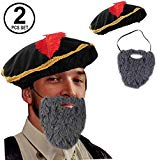 Tigerdoe Renaissance Costume - 2 Pc Set - Medieval Hat with Beard - Minstrel Costume- Renaissance Costume Accessories