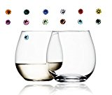 Swarovski Wine Glass Charms & Markers Magnetic - Gift Set (12 Gem Crystals, Midnight Black)