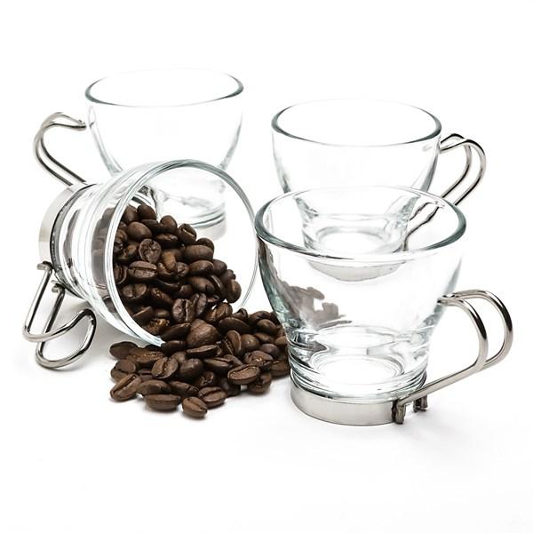 Bormioli Rocco Oslo Espresso Cups With Metal Handle - Set Of 4