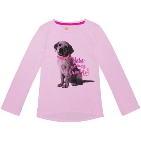 Here Comes Trouble Puppy T-shirt - Long Sleeve (for Little Girls)